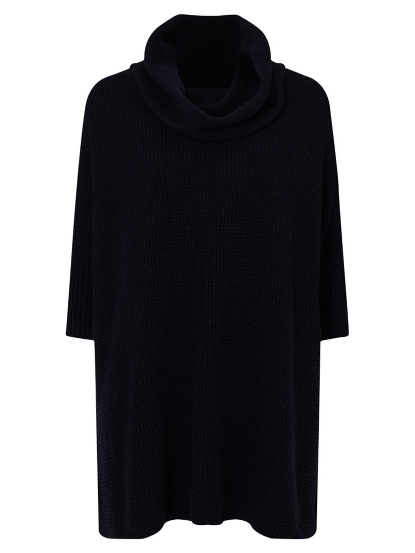 East East Cowl Neck Poncho Jumper, Navy