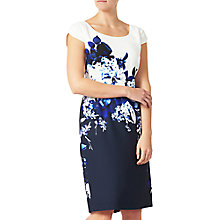 Buy Jacques Vert Crepe Contrast Print Dress, Multi/Navy Online at johnlewis.com