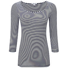 Buy Pure Collection Gemma Soft Jersey Top, Navy/White Online at johnlewis.com