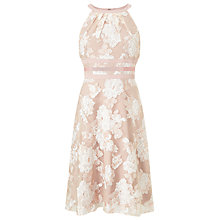 Buy Adrianna Papell Halterneck Fit And Flare Dress, Peach/Ivory Online at johnlewis.com