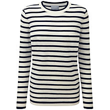 Buy Pure Collection Devonport Striped Cashmere Boyfriend Jumper, Soft White/Navy Stripe Online at johnlewis.com