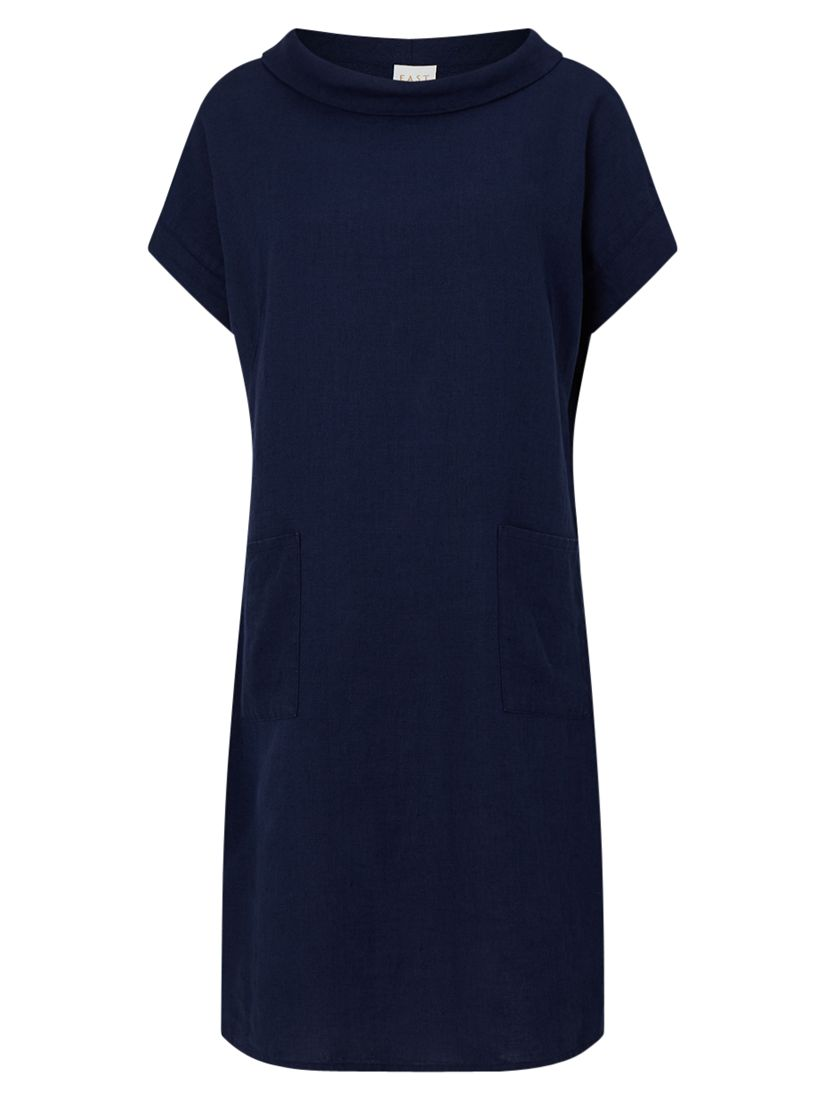 East East Bardot Neck Linen Dress, Soft Ink