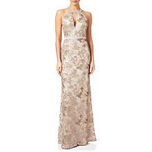 Buy Adrianna Papell Embellished Halterneck Mermaid Gown, Rose Gold Online at johnlewis.com