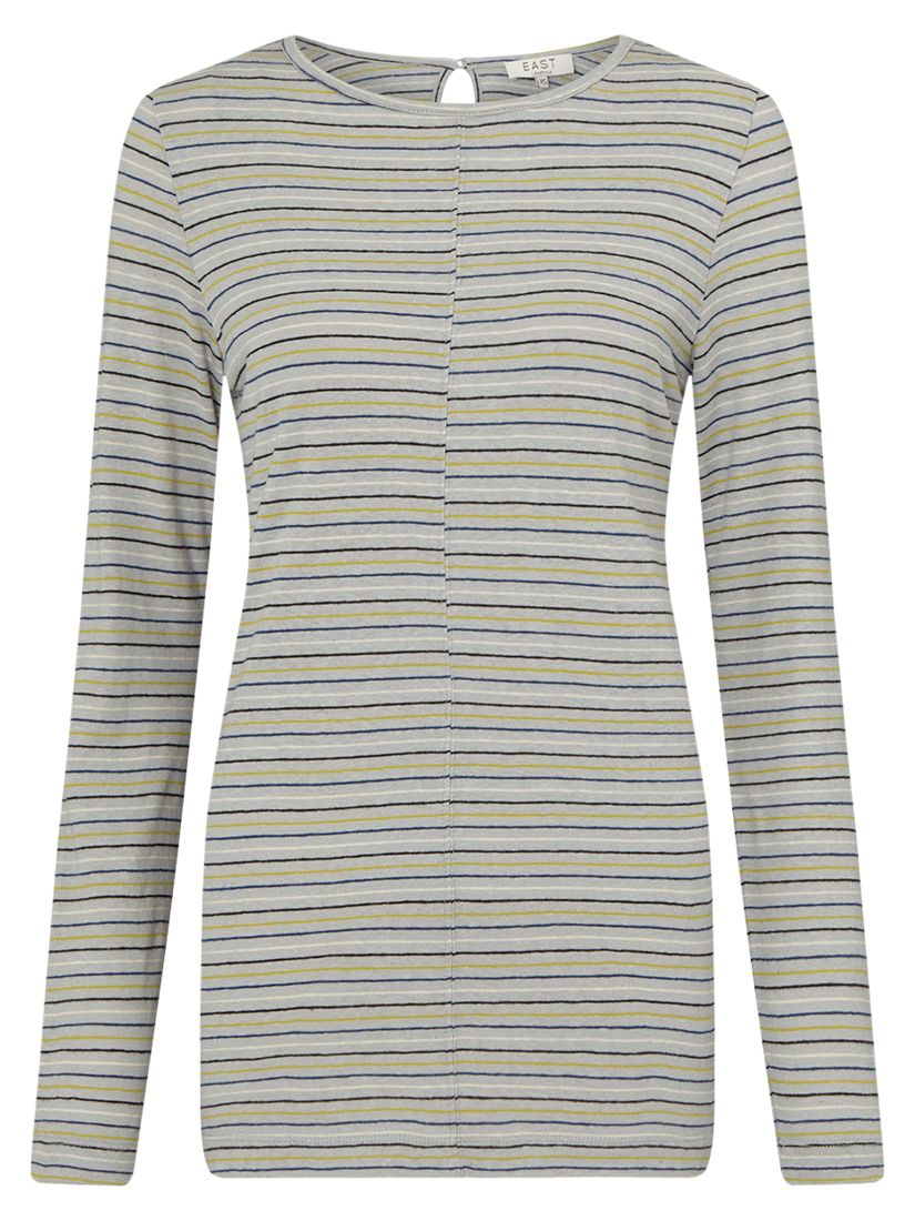 East East Stripe Boat Neck Top, Grey