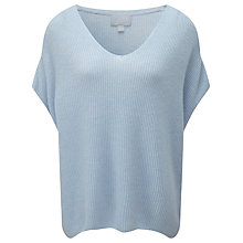 Buy Pure Collection Kourtney Ribbed Gassato Cashmere Poncho, Heather Sky Online at johnlewis.com