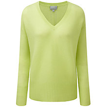Buy Pure Collection Everett V-Neck Gassato Cashmere Jumper, Fresh Lime Online at johnlewis.com