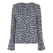 Buy Warehouse Animal Flute Sleeve Top, Multi Online at johnlewis.com