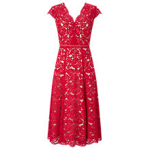 Buy Jacques Vert Lace Godet Dress, Multi/Red Online at johnlewis.com