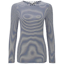 Buy Pure Collection Claire Striped Soft Jersey Top, Navy/White Online at johnlewis.com