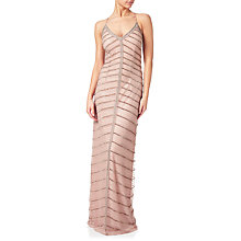 Buy Adrianna Papell Chevron Beaded Column Gown, Rose Gold Online at johnlewis.com