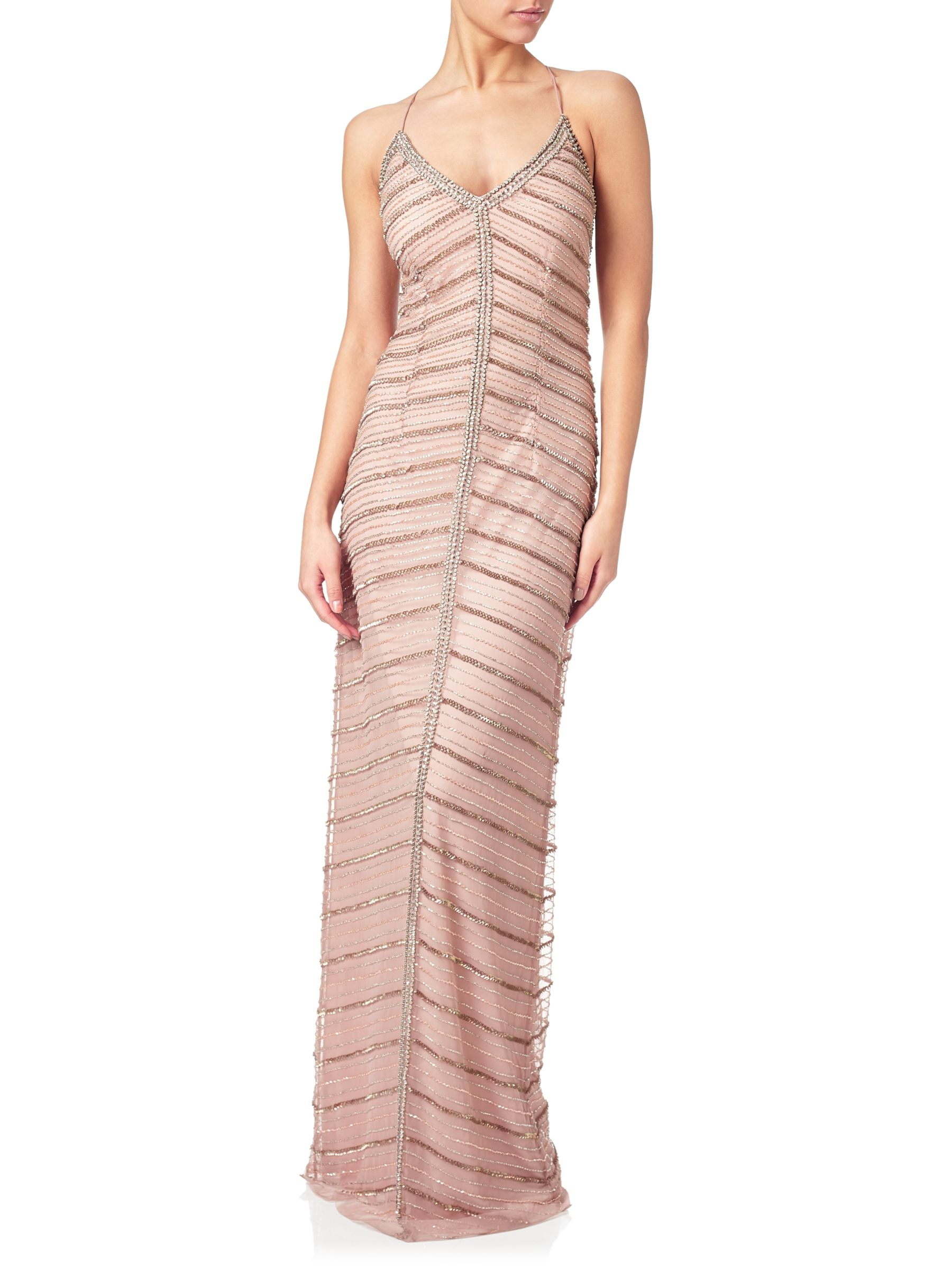 Adrianna Papell Adrianna Papell Chevron Beaded Column Gown, Rose Gold