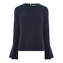 Buy Warehouse Flute Sleeve Top, Navy Online at johnlewis.com