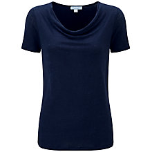Buy Pure Collection Lisa Luxury Linen Cowl Neck Top, Navy Online at johnlewis.com