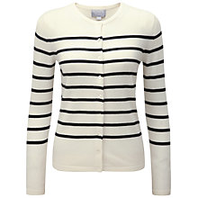Buy Pure Collection Athena Striped Cashmere Cardigan, Soft White/Black Online at johnlewis.com
