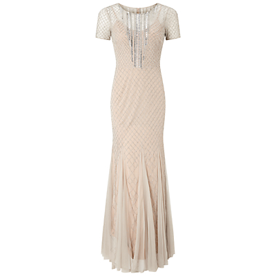 Buy Boardwalk Empire Inspired Dresses Adrianna Papell Short Sleeve Beaded Gown SilverNude £320.00 AT vintagedancer.com