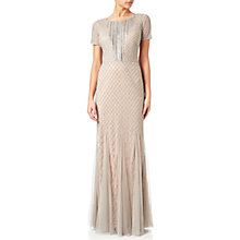 Buy Adrianna Papell Short Sleeve Beaded Gown, Silver/Nude Online at johnlewis.com