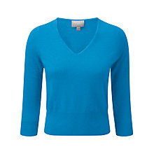 Buy Pure Collection Stephanie Cropped Cashmere Jumper, Turquoise Twist Online at johnlewis.com