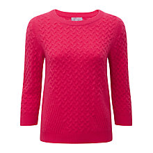 Buy Pure Collection Bree Cashmere Cable Jumper, Sweet Pink Online at johnlewis.com