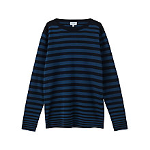 Buy Jigsaw Cotton Engineered Breton Knitted Jumper, Navy Online at johnlewis.com