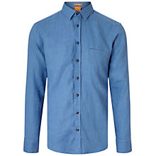 Buy BOSS Orange Elvedge Garment Dyed Linen Shirt Online at johnlewis.com