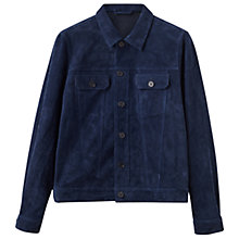 Buy Jigsaw Kingsly Suede Trucker Jacket, Azzure Blue Online at johnlewis.com