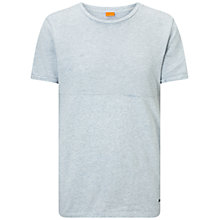 Buy BOSS Orange Tayn Mottled Cotton T-Shirt, Light Pastel Blue Online at johnlewis.com
