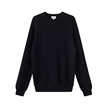 Buy Jigsaw Distorted Rib Cotton Crew Neck Jumper, Navy Online at johnlewis.com