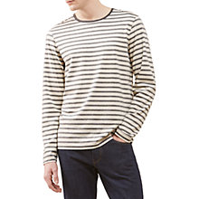 Buy Jigsaw Melange Stripe Long Sleeve Breton Top, Navy Online at johnlewis.com