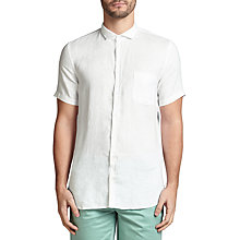 Buy BOSS Orange Cattitude Textured Linen Slim Fit Short Sleeve Shirt Online at johnlewis.com