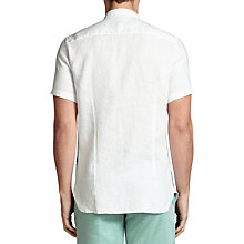 Buy BOSS Orange Cattitude Textured Linen Slim Fit Short Sleeve Shirt, White Online at johnlewis.com