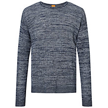 Buy BOSS Orange Atounys Linen Cotton Jumper, Dark Blue Online at johnlewis.com