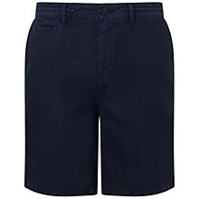 Buy BOSS Orange Siman Linen Shorts, Dark Blue Online at johnlewis.com