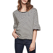 Buy Gerard Darel Teddy Striped T-Shirt With Ruffle Sleeve, Beige / Navy Online at johnlewis.com