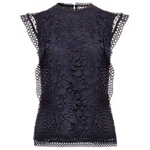 Buy Ted Baker Zania Ruffle Detail Mixed Lace Top, Dark Blue Online at johnlewis.com
