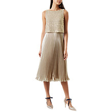 Buy Hobbs Evelyn Dress, Champagne/Gold Online at johnlewis.com