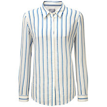Buy Pure Collection Sonia Washed Silk Blouse, Cobalt Stripe Online at johnlewis.com