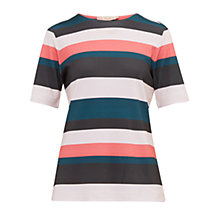 Buy Ted Baker Colour By Numbers Ketzia Stripe Print Top, Coral Online at johnlewis.com
