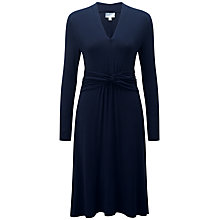 Buy Pure Collection Ariella Gathered Jersey Dress, Navy Online at johnlewis.com