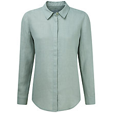 Buy Pure Collection Riley Laundered Linen Shirt, Zen Green Online at johnlewis.com