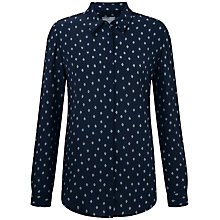 Buy Pure Collection Tessa Washed Silk Blouse, Leaf Foulard Print Online at johnlewis.com
