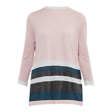 Buy Ted Baker Colour By Numbers Zatta Metallic Stripe Jumper, Pale Pink Online at johnlewis.com