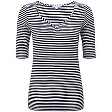 Buy Pure Collection Lindsay Notch Neck T-Shirt, Navy/White Online at johnlewis.com