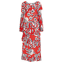 Buy Finery Lotus Pleated Peonies Printed Dress, Red Online at johnlewis.com