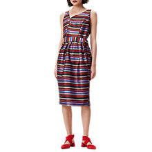 Buy Finery Lennox Sculpted Microstripe Tulip Dress, Red/Multi Online at johnlewis.com
