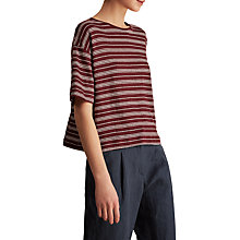 Buy Toast Stripe Linen Swing T-Shirt, Monk Red/Parchment White Online at johnlewis.com