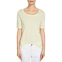 Buy Oui Stripe Cotton Linen T-Shirt, Light Yellow/White Online at johnlewis.com