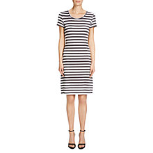 Buy Oui Knitted Stripe Dress, Brown/White Online at johnlewis.com
