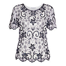 Buy Gina Bacconi Beaded Top With Scalloped Hem, Ivory/Navy Online at johnlewis.com