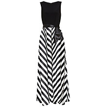 Buy Gina Bacconi Jersey Bodice Satin Stripe Maxi Dress, Black/White Online at johnlewis.com