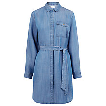 Buy Warehouse Step Hem Utility Dress, Mid Wash Denim Online at johnlewis.com